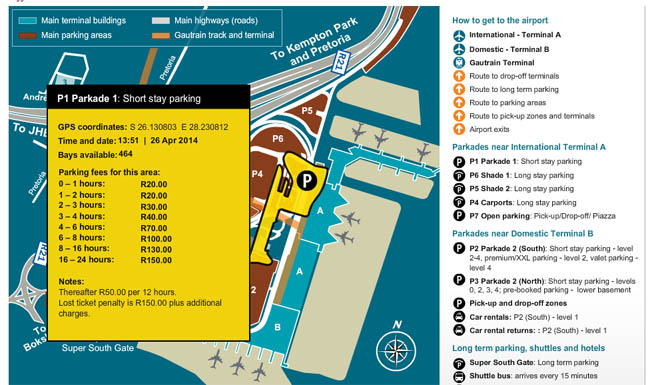 Short Stay Parking at OR Tambo Airport