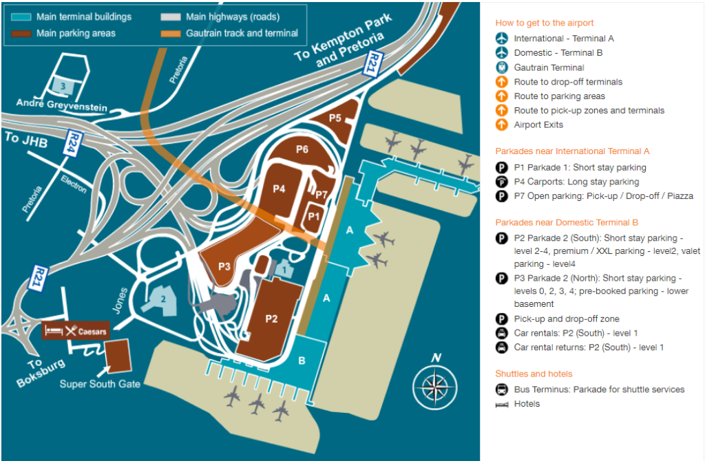 OR Tambo International airport parking map