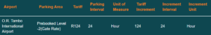 OR Tambo airport parking tariff pre-booked